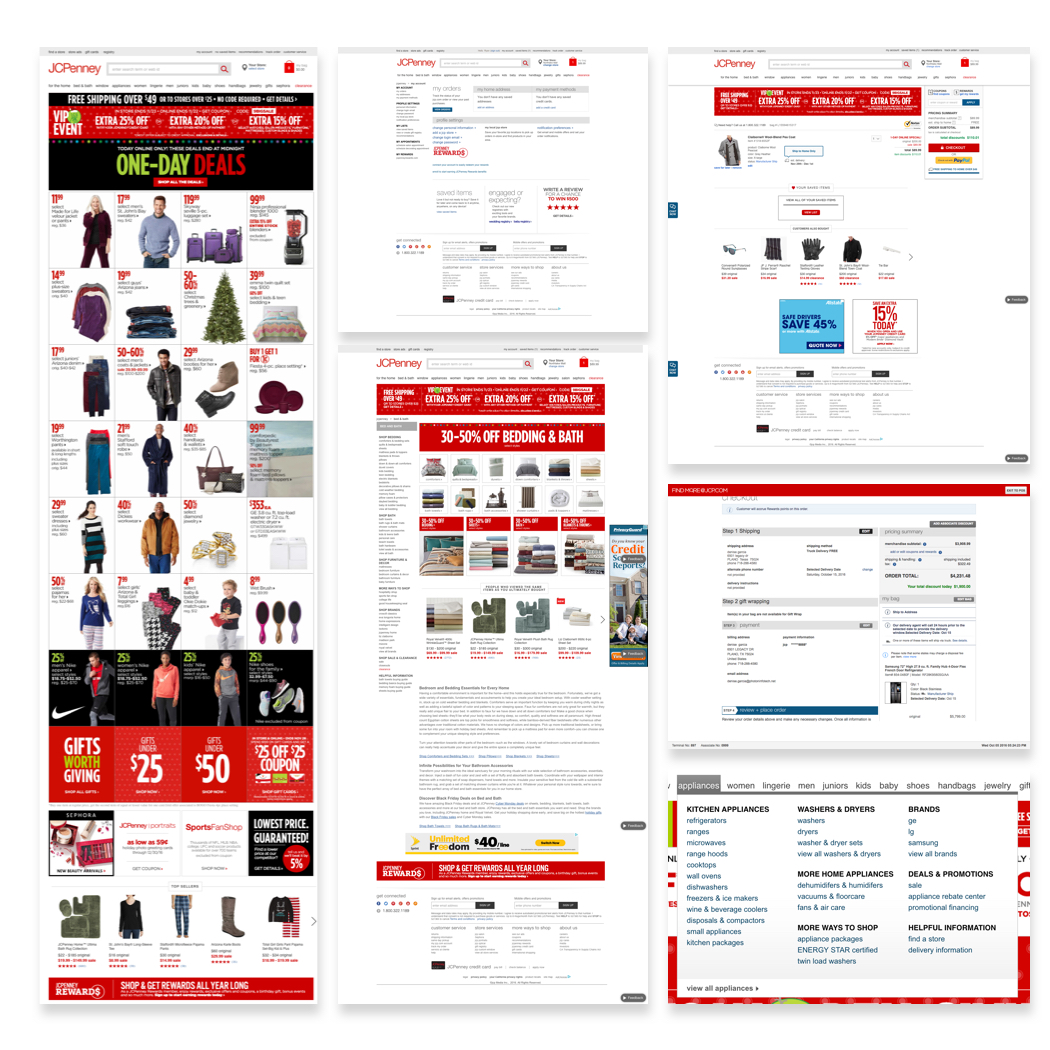 Various screenshots of the JCPenney website