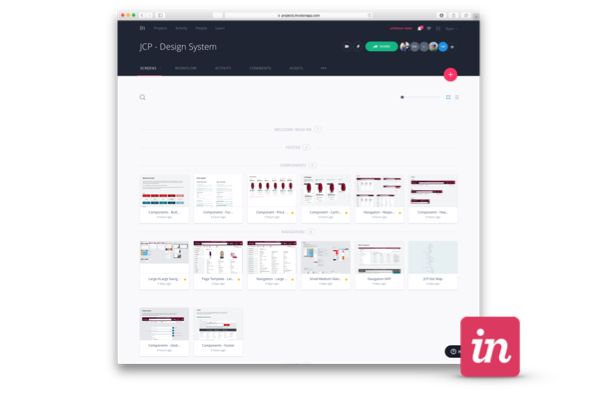 Invision web interface of a design system project