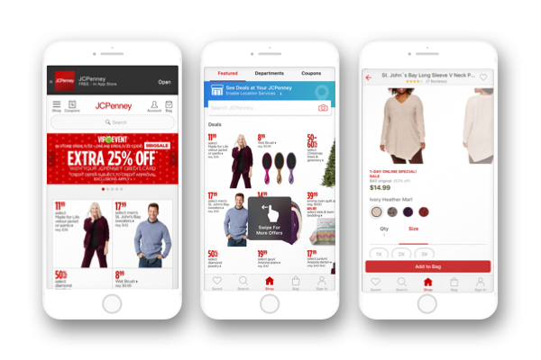 Various screenshot of the JCPenney mobile website
