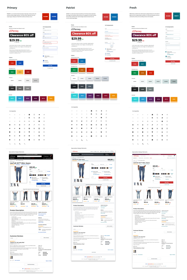 3 design direction samples each including colors, type, basic UI and a page template